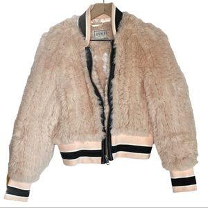 Guess Faux Fur Zip Up Bomber Jacket Pastel Pink S